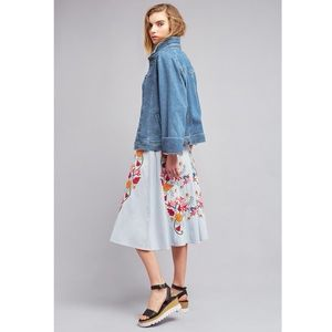 Anthropologie Hepburn Embroidered Skirt